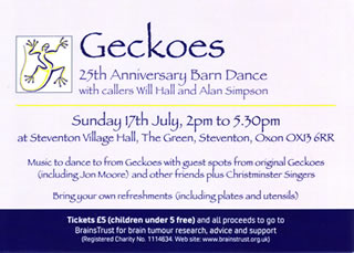 Geckoes party flyer - click to see larger image